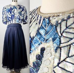 Vintage plus size sz 16 Richilene navy embellished beaded dress gown