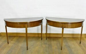 Antique mahogany D end dining table / pair of console tables
