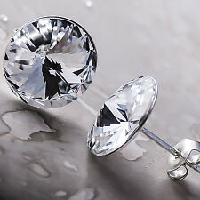 925 Sterling Silver Stud Earrings Rivoli Clear 12 mm Crystals from Swarovski®