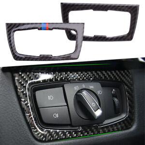 Carbon Fiber Headlight Switch Button Trim Fit For BMW 3 4 Series F30 F31 F32 F34