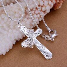 Damen Halskette Kreuz Krone Anhänger 925 Sterling Silber plattiert Kreuzkette