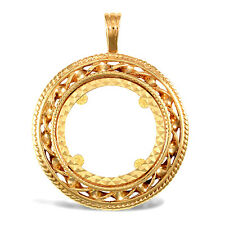 Jewelco London 9ct Gold Rope Candy Twist Frame Full Sovereign Coin Mount Pendant