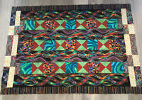 Patchwork Quilt Top, Squares & Triangles, Contemporary Prints, Vivid Colors