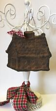 SEArts Primitive Rustic Blackened BEESWAX Spicy GINGERBREAD COTTAGE Ornament Art