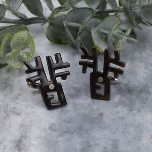 Vintage Faux Brown Resin Abstract Carved Brown Cuff Links