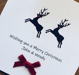 Personalised Handmade Christmas Cards - Reindeer 13.5cm X 13.5cm