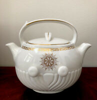 """VTG Hall China """"Tip Top"""" Tea Coffee Pot Dual Spout Gold Trim By Forman Family"""