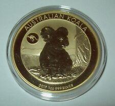 New Listing2017 Australia Koala 1 Oz .Silver $1 Coin 24K Gold Gilded Kangaroo Privy Dollar