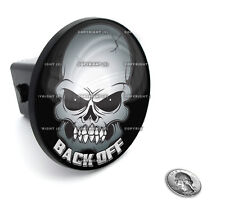 "2"" Tow Hitch Receiver Plug Cover Insert For SUV's & Trucks - ""BACK OFF SKULL"""