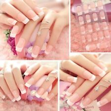 24Pcs Lady Women's French Style Long Manicure Art Tips False Nails Tool Gift DIY