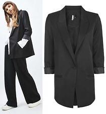 TOPSHOP NEW Black Slinky '80s Blazer Jacket Size 6 to 16