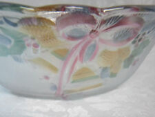 Glass Christmas Candy Dish Serving Bowl Nut Ribbons Holly Bells Pastel Colors