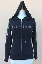 Bebe Russian Rhinestone Hoodie Sweater Jacket Hood Logo Black S NWT $89