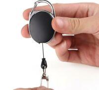 Retractable Pull Reel Id Badge Holder Zinc Alloy Clip Name Lanyard Tag Black Lot