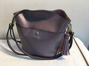 S-ZONE Mauve Lilac Leather Bucket Tote Shoulder Tassel Purse Handbag Crossbody