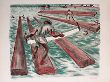 """ALFREDO ZALCE Signed 1946 Original Color Lithograph """"LUMBER WORKERS"""" - AAA"""