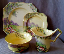 England Royal Winton Grimwades 4070 Porcelain HandPainted Plate Bowl Creamer Set