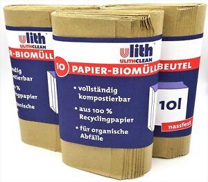 30 Bio Abfalltüten Papiertüten Biobeutel Papiermüllbeutel, nassfest, 10 Liter
