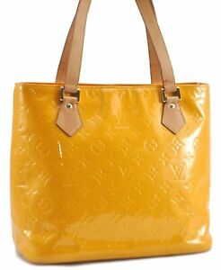 Authentic Louis Vuitton Vernis Houston Shoulder Bag Yellow LV C2079