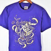 Vintage 80s 90s New Orleans Mardi Gras T Shirt Single Stitch Oneita USA Booze L