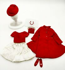 Vintage Barbie Skipper Red Velvet Coat & Hat #1906 & Silk 'N Fancy #1902 Sets