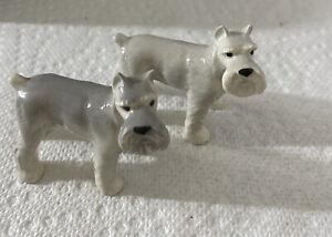 2 Porcelain Dollhouse Miniature Schnauzer Dogs
