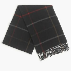 Abraham Moon J.Crew Merino Wool Scarf   Made in UK   Dark Navy Plaid   $69.50