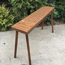 "Vintage Cribbage Wood Game Board Coffee Table Mid-Century Modern 40"" Crib"