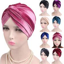 Damen Samt Yoga Turban Beanie Kappe Hut Mütze Kopftuch Kopfbedeckung Haarband