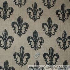 BonEful Fabric FQ Woven BURLAP Brown Black Saints Fleur De Lis Shabby Chic Decor