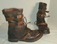 NEW FREE PEOPLE INTO THE ABYSS BROWN LEATHER LACE UP BOOTS US 8 EU 38