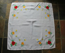 Vintage Handmade Tablecloth - Vintage Embroidery - 1950s - Roses - Shabby Chic
