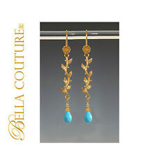 NEW $500 VICTORIAN TURQUOISE 18K GOLD EARRINGS DIAMOND VTG CHANDELIER DANGLE 24K
