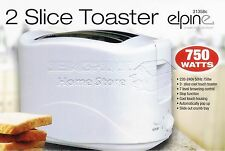 Elpine 2 Slice Toaster 750W Perfect For Home Office Students Gift BNIB WHITE
