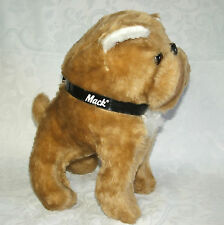 Vintage Tan White Mack Truck Bull Dog Advertising Logo Plush Collar BJ Toy 12""