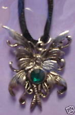 Amy Brown Bubble Rider Necklace Green Faceted Fairy New