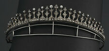 Amazingly Antique Finished 9.70cts Rose Cut Diamond Silver Crown Tiara Jewelry