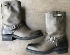 Frye Engineer Boots Men's  Motorcyle Grey Leather 8.5 Rockabilly Made In The USA