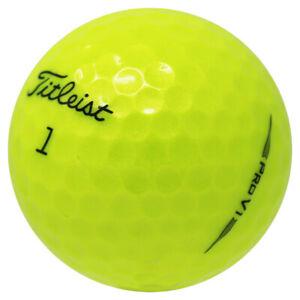 48 Titleist Pro V1 2019 Yellow Near Mint Used Golf Balls AAAA In a Free Bucket!