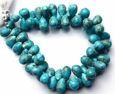 """Natural Gem Copper Turquoise 10x8MM Approx. Smooth Drop Shape Briolette Beads 8"""""""