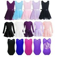 Kids Girls Ballerina Dress Gymnastics Leotard+Tutu Skirt Sets Dancewear Costumes