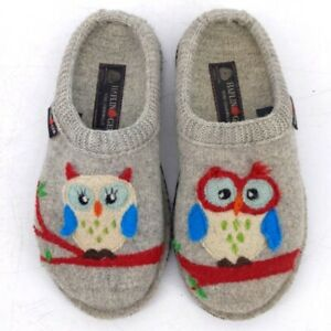Haflinger Olivia Owl Wool Casual Slip On Shoes Grey Gray Clog Slippers Size 37