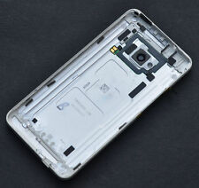 Silver Housing Back Battery Door Cover LED Flash Camera Lens for HTC One M7