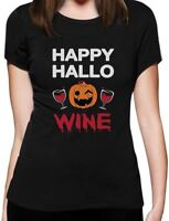 Happy Hallowine Pumpkin Halloween Wine Lovers Funny Women T-Shirt Party