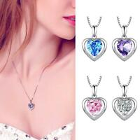 1*Silver Heart Crystal Stone Pendant Chain Necklace Womens Jewellery Nice