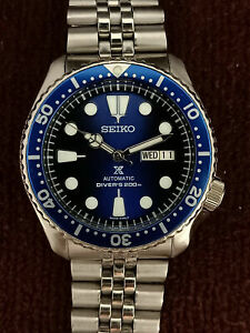 LOVELY SAVE THE OCEAN MOD SEIKO 7S26-0020 SKX007 AUTOMATIC MENS WATCH 299618