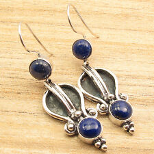 """925 Silver Plated Over Solid Copper, LAPIS LAZULI TWO Stone Earrings 2"""""""