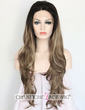 Women's Wavy Synthetic Hair Wig Ombre Platinum Blonde Lace Front Wigs Heat Safe