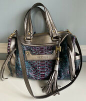 Aimee Kestenberg Leather Satchel Purse Bag Purple Teal Snake Leather Silver NWT
