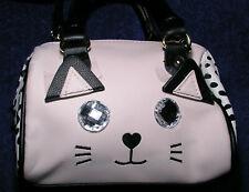 Betsey Johnson Mini Satchel Handbag Purse Blush Pink Cat Face Crystal Eyes Vegan